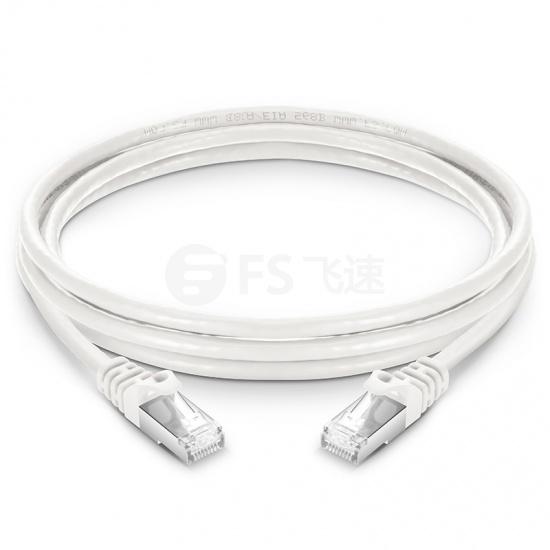 3m Cat6a超六类双屏蔽(SFTP)网络跳线,卡沟设计,白色,PVC CMX