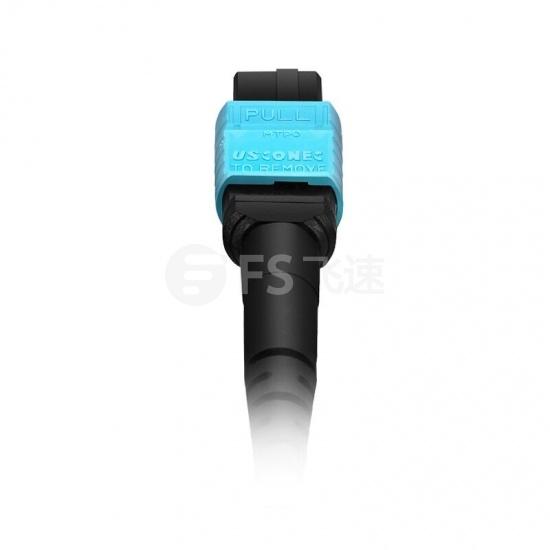 2m 16芯 MTP®(母) APC 万兆多模OM4主干光纤跳线,用于400G网络连接,Plenum(OFNP阻燃)