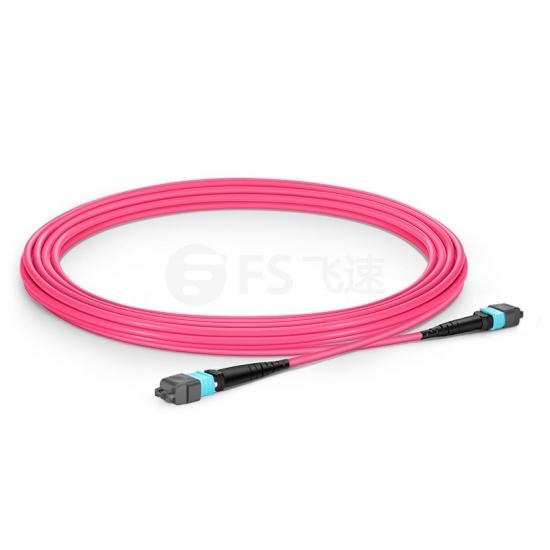 5m 16芯 MTP®(母) APC 万兆多模OM4主干光纤跳线,用于400G网络连接,Plenum(OFNP阻燃)