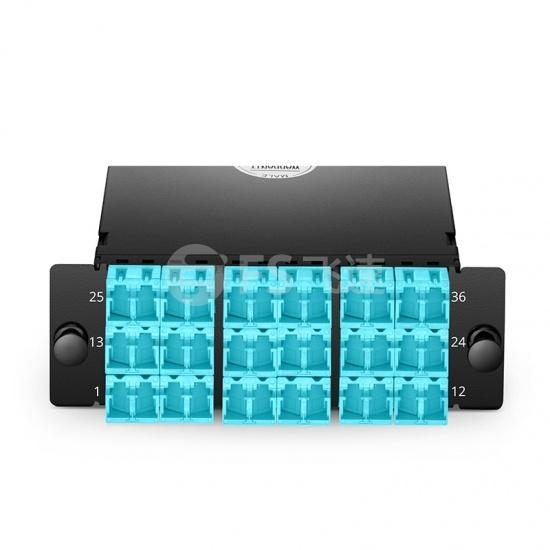 FHD 36芯 OM4 MTP®光纤配线盒,3xMTP®-12转18xLC双工,AF极性,0.35dB插损