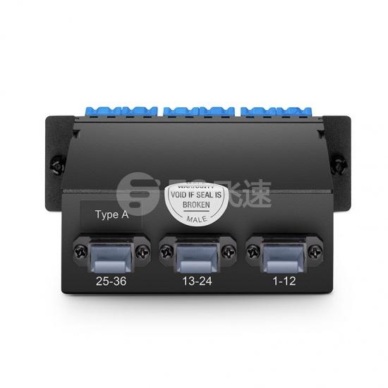 FHD 36芯 OS2 MTP®光纤配线盒,3xMTP®-12转18xLC双工,A极性,0.35dB插损